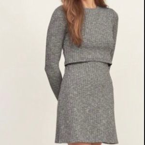 A&F grey ribbed layered sweater dress Sz m overlay
